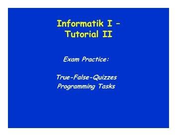 Informatik I – Tutorial II - schmiedecke.info