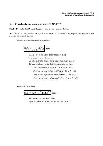 Previsão Reologia ACI209 parte 1 - DEMC
