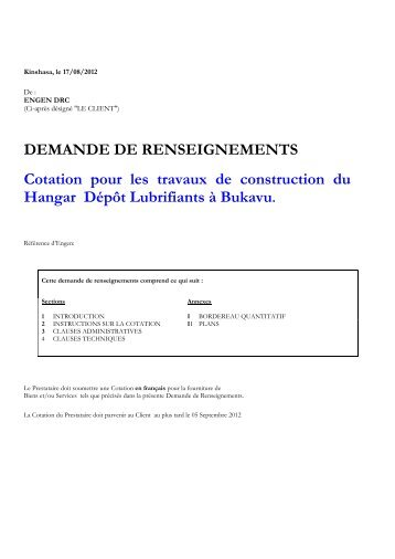 DEMANDE DE RENSEIGNEMENTS Cotation ... - mediacongo.net