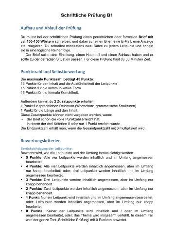 Schriftliche Prüfung B1 Aufbau und Ablauf der Prüfung Punktezahl ...