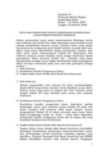Baku Mutu Tanah untuk Tanah Terkontaminasi Limbah B3 - SKPD ...