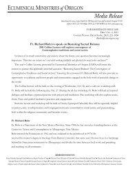 Fr. Richard Rohr to speak on Restoring Sacred Balance