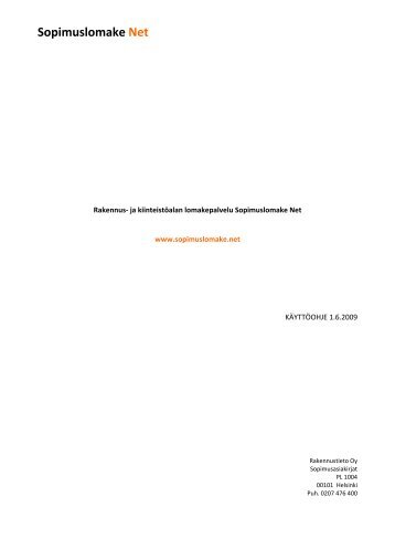 Sopimuslomake Net - Rakennustieto Oy