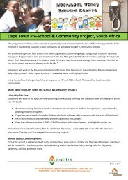 Cape Town Pre-School & Community Project, South ... - Mission Travel