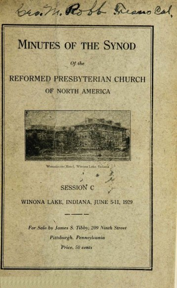 Reformed Presbyterian Minutes of Synod 1929