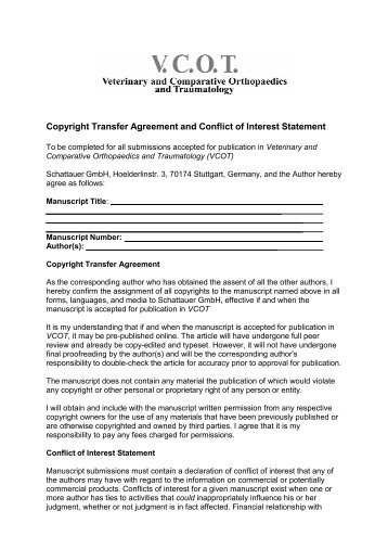 Transfer Agreement and Conflict of Interest Statement