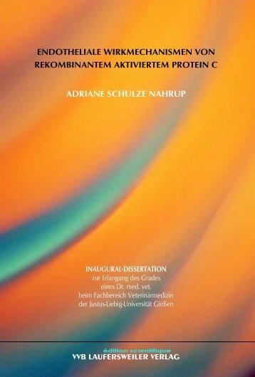 Endotheliale Wirkmechanismen von rekombinantem aktiviertem ...