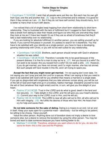 1 Twelve Steps for Singles Singleness 1 Corinthians 7:7-9 HCSB I ...