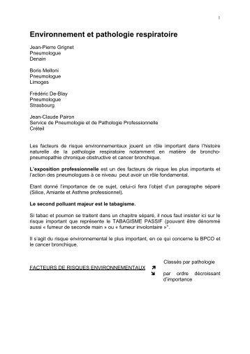 environnement et pathologie respiratoire - Fédération Française de ...