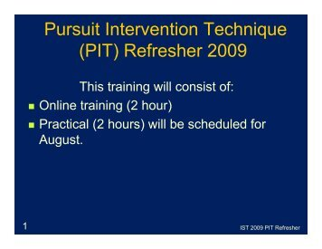 PIT Refresher Presentation - Martin County, Florida