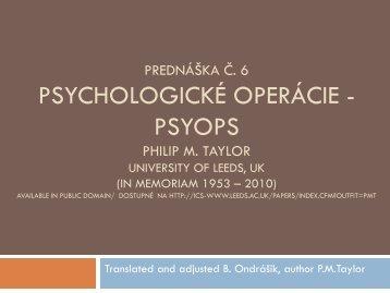 Propaganda, Public Diplomacy & Psychological ... - branoondrasik.sk