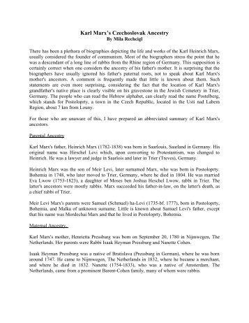 The Czechoslovak Ancestry of Karl Marx
