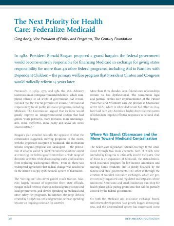 The Next Priority for Health Care: Federalize Medicaid - The Century ...