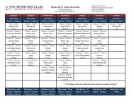 Group Fitness Schedule - The Sporting Club at Voorhees Town Center