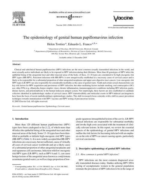human papillomavirus infection e)