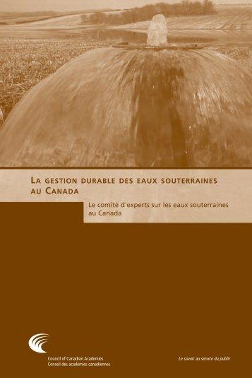 La gestion durable des eaux souterraines au Canada (rapport ...