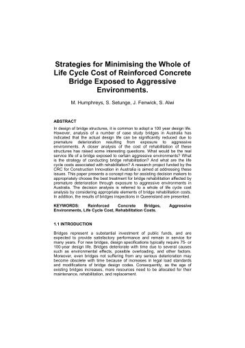 Strategies for Minimising the Whole of Life Cycle Cost of Reinforced ...