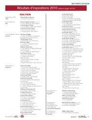 résultats d'expositions 2010 (photos pages 54-55)