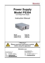 Power Supply Model PS304 - Biometra
