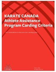 KARATE CANADA Athlete Assistance Program Carding Criteria