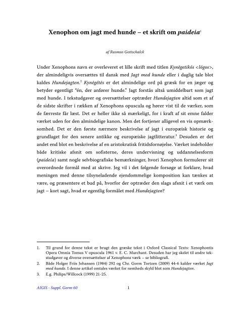 Xenophon om jagt med hunde – et skrift om paideia1 - Aigis