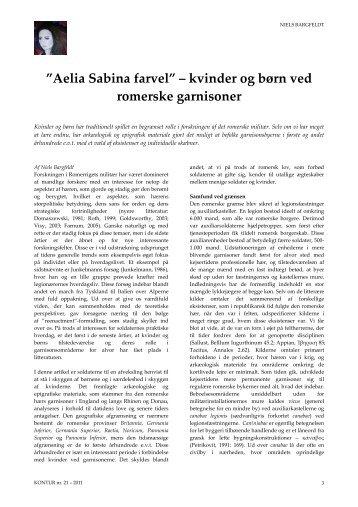 """Aelia Sabina farvel"""" – kvinder og børn ved romerske ... - Kontur"""