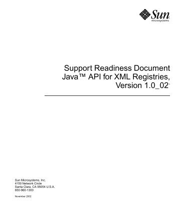 """Support Readiness Document Javaâ""""¢ API for XML Registries ..."""