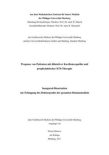 Prognose von Patienten mit dilatativer Kardiomyopathie und ...