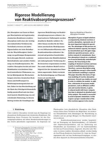 Rigorose Modellierung von Reaktivabsorptionsprozessen*