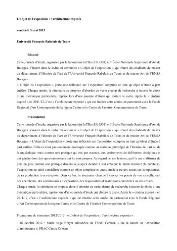 Appel à communication - MSH de Tours - Université François Rabelais