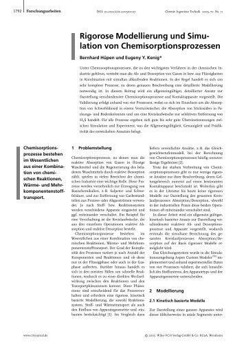 Rigorose Modellierung und Simulation von Chemisorptionsprozessen
