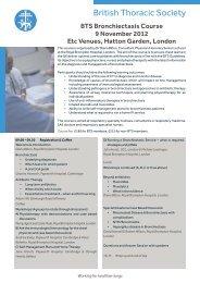 BTS Bronchiectasis Course - Brit Thoracic