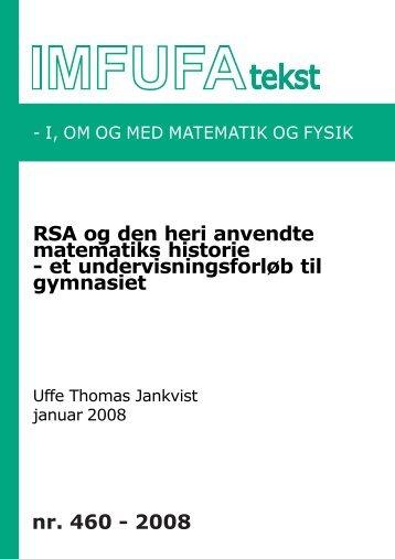 RSA og den heri anvendte matematiks historie - Institut for Natur ...