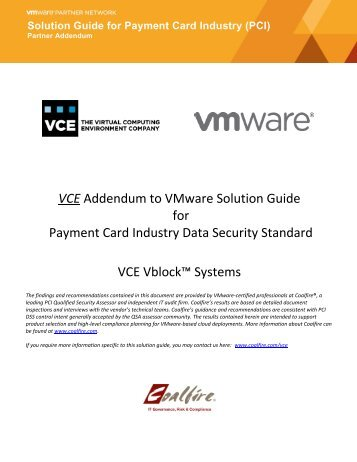 VCE Addendum to VMware Solution Guide for Payment Card ...