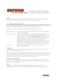 Hilfe für den Partner-Bereich von Reform-Werke / Agromont 1 ...
