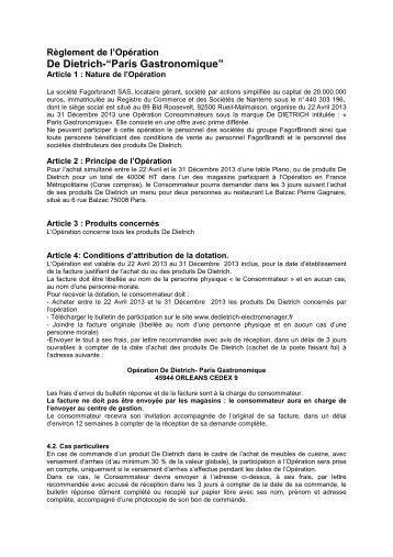 Règlement OP Paris Gastronomique - De Dietrich