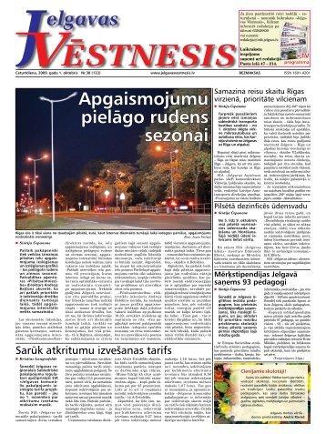 2009. gada 1. oktobris. Nr.38(122) - Jelgavas Vēstnesis