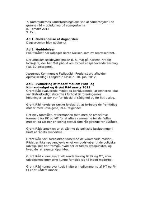 Referat af Grønt Råds møde mandag den 7. maj 2012 Deltagere ...