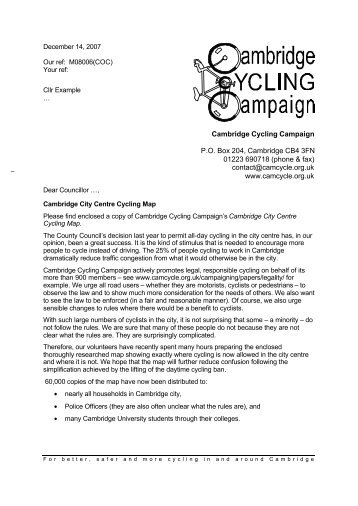 Form Letters1 - Cambridge Cycling Campaign