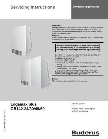 Service manual - Logamax plus GB142 (USA/CA) - en - Buderus