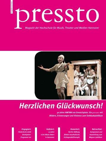 pressto 02/2013 - Hochschule für Musik, Theater und Medien ...