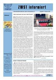 ZWST informiert - Zentralwohlfahrtsstelle der Juden in Deutschland eV