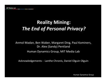 Reality Mining - MIT SENSEable City Lab