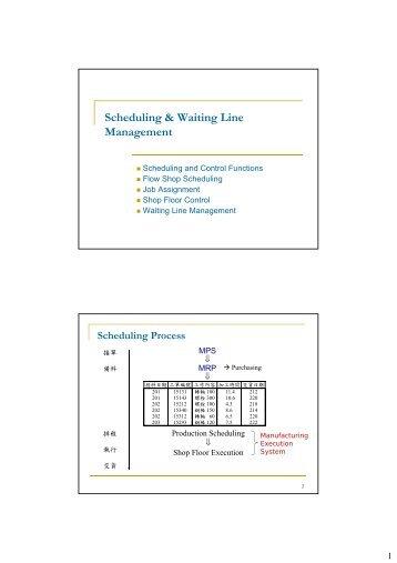 Scheduling & Waiting Line Management
