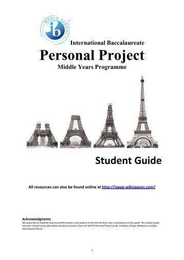 MYP Personal Project Student Guide - International School of Paris