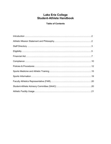 Student Athlete Handbook - Lake Erie College