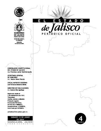 sábado 12 de junio de 2004 - Periódico Oficial El Estado de Jalisco