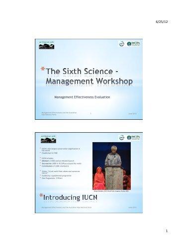 The Sixth Science - Management Workshop - Australian Alps ...