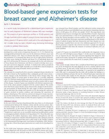 Blood-based gene expression tests for breast cancer and ...