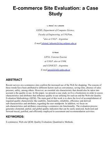 E-Commerce Web QEM - 9th International World Wide Web ...